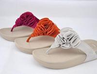 Irsoe essoesso flower flip flops summer female wedges platform beach slippers slimming slippers