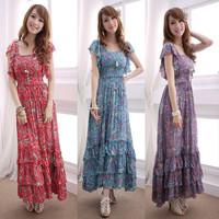 Plus size clothing bohemian dress butterfly sleeve slim cotton cloth beach one-piece dress