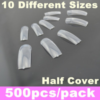 500Pcs/Pack Transparent French False Nail Art Tips Half Cover Acrylic Nails Tips Dropshipping + Free Shipping