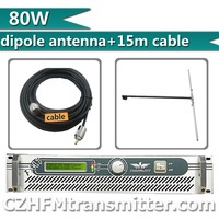 Free Shipping!  FSN-80W 80W FM Transmitter Radio Broadcaster For FM Radio Station+1/2 wave dipole antenna 15m cable kit