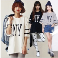 Sty nda navy style ny loose letter print batwing sleeve bf T-shirt short-sleeve shirt female