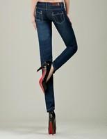 Dark blue new style Straight Mid waist Denim women Jeans Slim Skinny Denim Pencil Pants SIZE 26-33