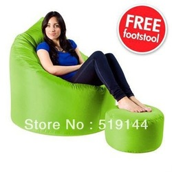 Free shipping LIME GREEN XXL Adult Bean Bag Chair Indoor-Outdoor, Waterproof beanbag sets with free footstool(China (Mainland))