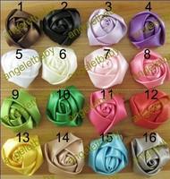 "Free shipping!1.5"" Mini Satin Roses Flowers Heads Rosette Flowers For Hair Ribbon Rose 100pcs/lot"
