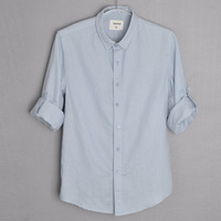 free shipping Male linen shirt long-sleeve shirt pointed collar slim men's fluid casual clothes