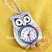 Free Shipping 10pcs/lot Silver owl fashion pocket watch Necklace,owl Quartz pocket watch necklace,Jewelry findings W25
