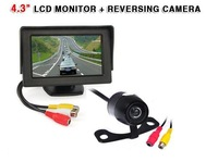 "4.3"" Car LCD monitor + Mini Waterproof Car Rearview Reverse camera 170 degree back up camera parking sensor"