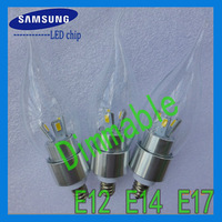 Samsung chip 3W E12 E14 candelabra base LED lights bulbs dimmable 110V 120V 220V 240V 280LM 20pcs/lot