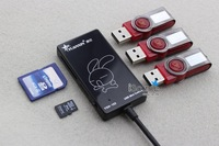 New Multifunctional 2.0 High Speed 3 Port USB HUB+ SD and TF memory card reader Free shipping E0001