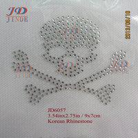 Free shipping 80pcs/lot Korean Rhinestone Transfers Small Skull Designs DIY For T-Shirt Free Custom Design