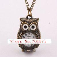 Free shipping 10pcs/lot 2013 Fashion jewelry Pocket watch, New Style night owl Pendant Retro  pocket watch necklace necklace W26