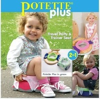 Potette plus 2 in 1 baby child folding portable toilet travel potty trainer seat with handle 3 disposable bag non-slip durable
