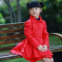 2013 spring & autumn,children girl medium-long design trench,kids long sleeve coat, puff sleeve design outerwear,Y36