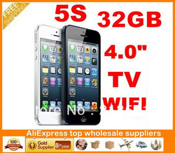 "32GB unlocked phone New JAVA 5s i5 i5s dual sim card Quad band 4.0"" touch screen cell phone with TV WIFI , Free shipping(China (Mainland))"