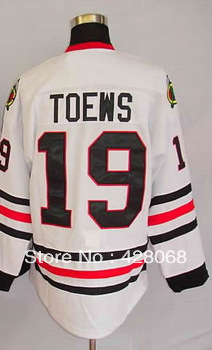 Embroidery Logos Free Shipping-#19 Jonathan Toews Men's Authentic Road White Cheap Ice Hockey Jerseys Size:48-56(China (Mainland))