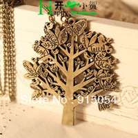 Free shipping (Min order $15)4057 Koga wholesale European and American jewelry retro sweater chain necklace Bird Christmas Tree