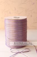 Hot sale ! july sales 3mm x 880 Yard Gold double side ribbons satin ribbon wedding ribbon Color # 21 Violet