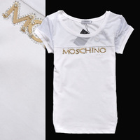 2013 classic metal logo slim gauze patchwork short-sleeve t shirt women 3colors M,L,XL,XXL,3XL Free shipping