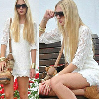 Free Shipping 2013 New Best Selling Women's Fasion Casual Lace Dress three quarter Sleeve Stylish dress