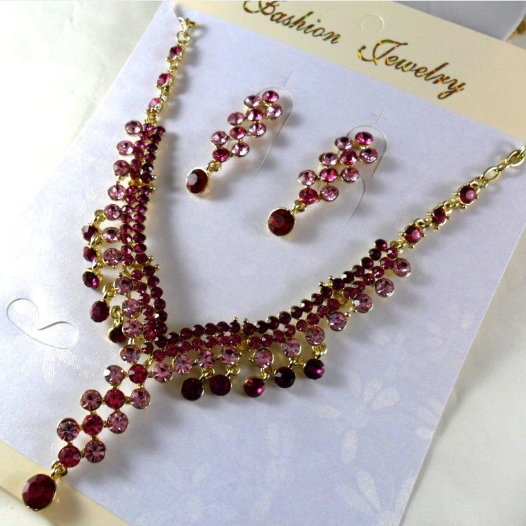 Retail cubic zircon stone jewelry gems earring necklace set choker jewelry 1 piece / lot FREE shipping(China (Mainland))