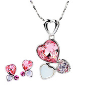CDE 2013 Crystal Vintage Jewelry Set  Fashion Crystal Double Heart Earring and Love Necklace