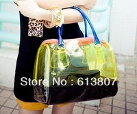 2013 new transparent beach bag women shoulder bag portable crystal jelly