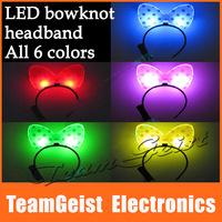 20pcs/lot LED Flashing bowknot Hair headband Luminous Mickey Bow hairbands Headwear for festival party Gift Free Shipping