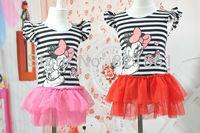 girl Minnie mouse Love Stripes dresses girl's sundress Princess dresses  tutu dress childrens clothing
