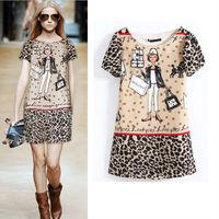 2013 New Fashion Ladies' elegant Cartoon cute girl Leopard print Dresses Vintage Evening party cascul slim designer dress