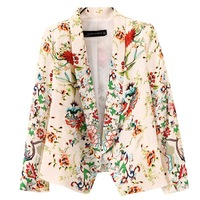Free Shipping 2013 Autumn Fashion Print Short Design No Button Long-Sleeve Turn-Down Sollar Jacket suit Blazers