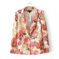 Free Shipping 2013 New Autumn Women's Fashion Flower  Pique Casual Suit Blazers Clothing Dress