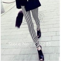 Min.order is $10 (mix order) Black and white horizontal and vertical stripes leggings for fall and winter, Ms. DQ-0019