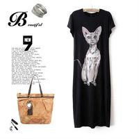 NEW Black Grey Galaxy Cat print long dress for women summer casual cute sexy bodycon dresses