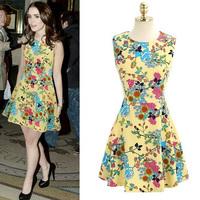 2014 New Fashion Summer Womens Sleeveless Celebrity Dresses Flowers Printing Chiffon Dress Cute Novelty Dresses For women
