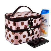 Bags double layer super hot polka dot cosmetic bag folding handbag