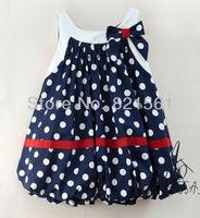 girl dot suspender Lantern dresses girl's Sleeveless sundress Princess dresses  bowknot dresse childrens clothing