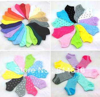 20pairs Candy color women lovely striped socks lady's sneaker socks summer footwear free shipping