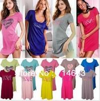100% Cotton Sexy Cute Short Sleeve Women's Sleep & Lounge  Sleep Tops Women Homewear 15 Colors
