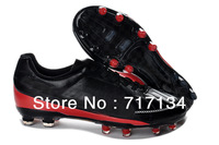 Free EMS Shipping Black Red Leather Soccer Shoes 2013 Men's Outdoor Foot Ball Cleats Carbon Sole New In Box Cheap Dropshipping
