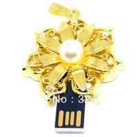 Golden flower pendant 2.0 / key shape USB flash drive/crystal/diamond/cartoon/free shipping