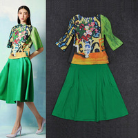 High-end Fashion 2013 Retro Art Colorful Flower Vase Tops And A-line Green Skirts Over-the-knee SS13161