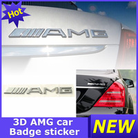 Chrome Emblem Sticker Badge CLK AMG 3D Metal Logo Rear Mercedes Trunk Decal Silver Class For Benz Car
