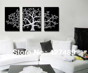 3 Piece Free Shipping Hot Sell Modern Wall Painting Abstract Silver Tree Home Decorative Art Picture Paint on Canvas Prints A085