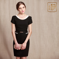Button 2013 ol high quality black and white chiffon short-sleeve women's one-piece dress 2580