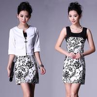 2013 summer women's plus size small suit jacket print one-piece dress