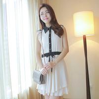 2103 chiffon one-piece dress slim hip casual elegant ol white collar slim work wear one-piece dress