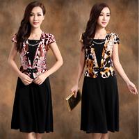 2013 one-piece dress loose plus size slim one-piece dress silk professional women