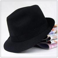 British style gentleman hat small fedoras male hip-hop hat black