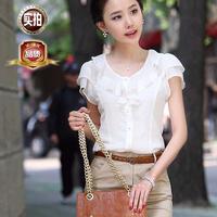 Professional women's shirt short-sleeve ruffle OL outfit chiffon shirt female 2013 summer