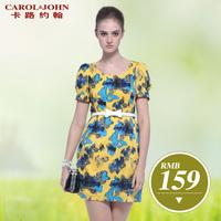 2013 ol professional women elegant white collar high waist slim print one-piece dress